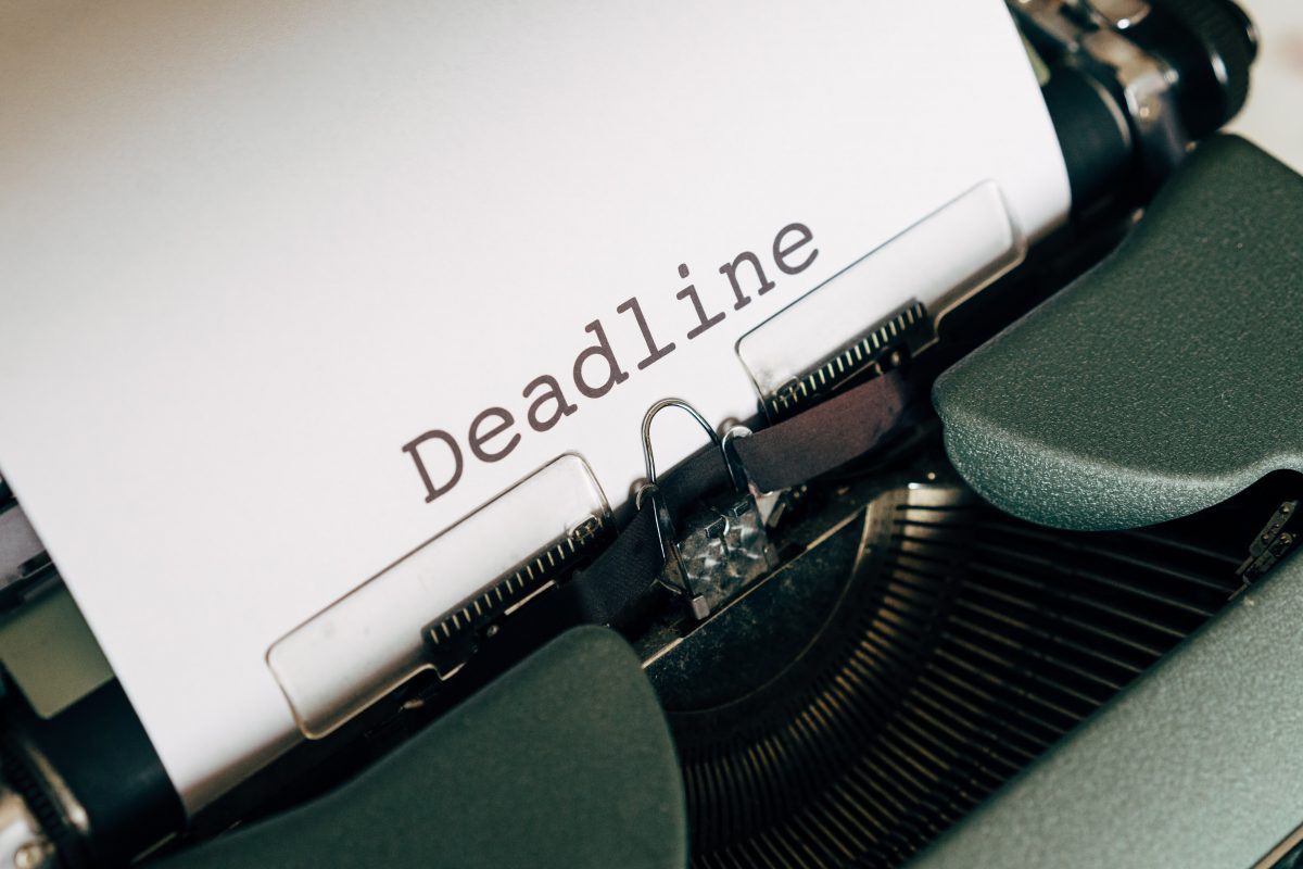 Deadline typed on paper image