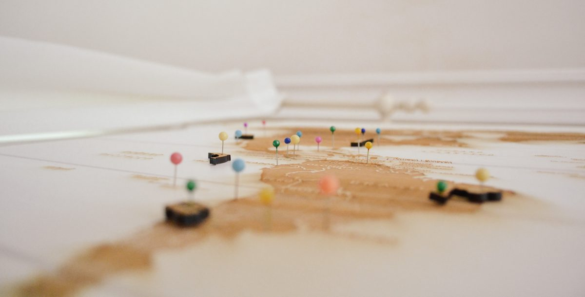 Colorful map pins