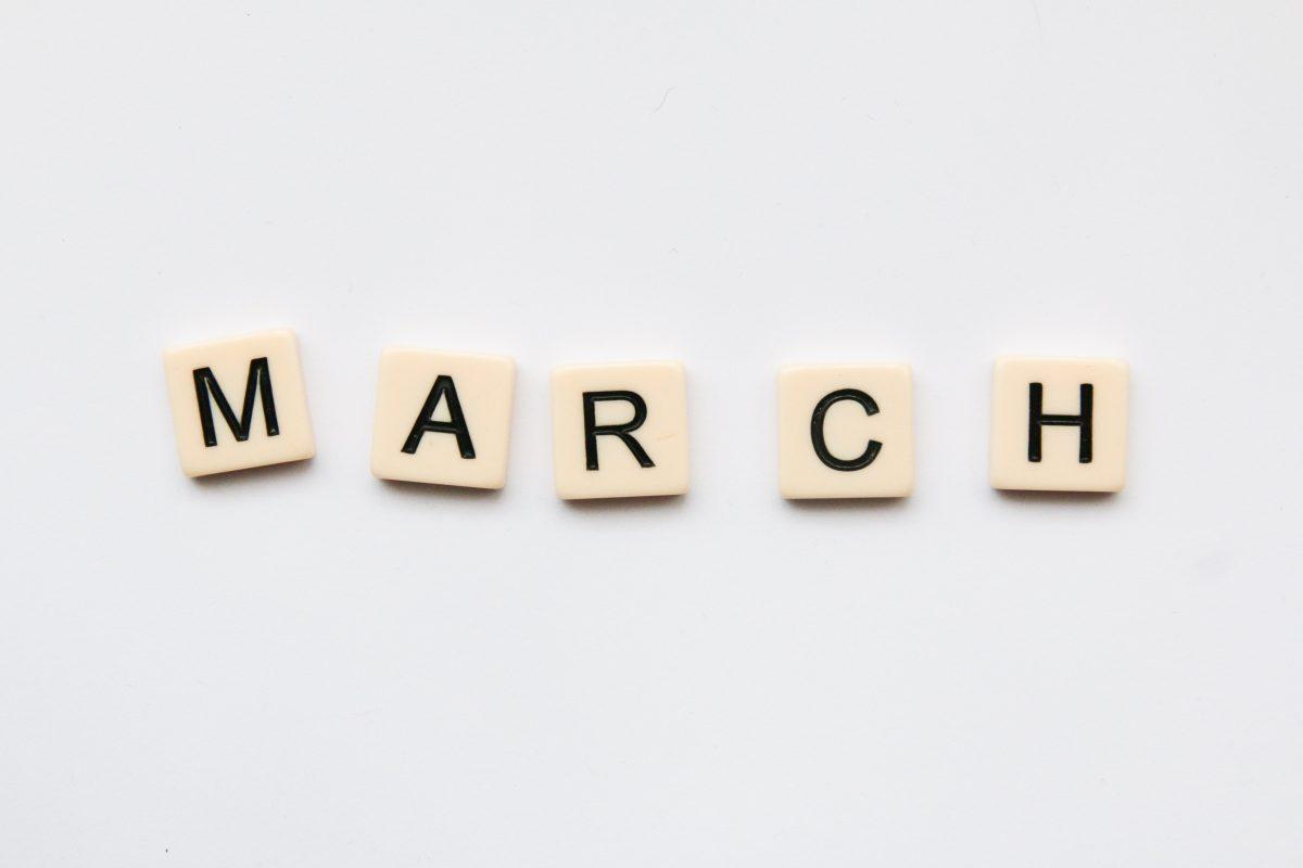 Scrabble letters spelling March
